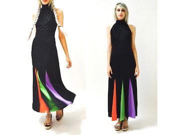 70s Vintage Black Maxi Dress Small // Vintage Black Dress Halter Neck Color Blocked Dress Red Green Purple