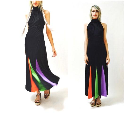 70s Vintage Black Maxi Dress Small // Vintage Bla… - image 1