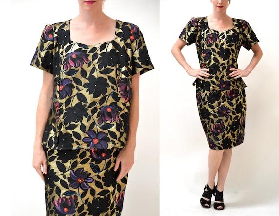 80s Vintage Metallic Gold Jacquard Skirt and Shirt