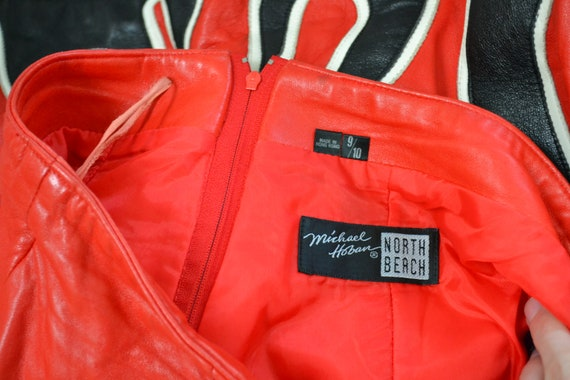 90s Vintage RED Leather Shorts by Michael Hoban N… - image 9
