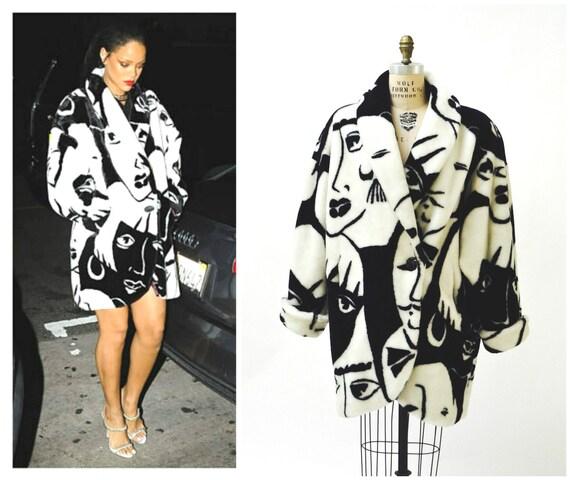 Vintage Faux Fur Jacket Coat Vintage Donny Brook Black White Etsy