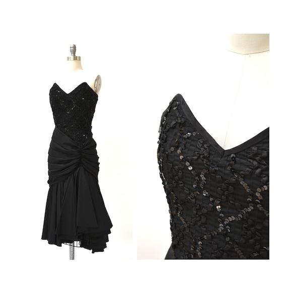Vintage 80s Prom Dress Black Sequin Dress Evening