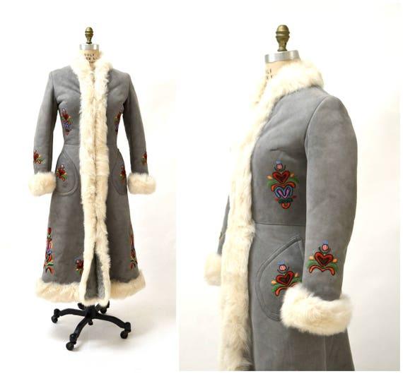 Shearling Mantel Jahre Made bestickt bestickt Jacke Vintage Pelz 70er Schaffell afghanische klein Boho afghanische Nerz in Shearling Mantel grau zMpLqVSUG