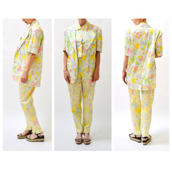 90s Vintage Printed Suit By ESCADA Yellow Blue Ja… - image 5