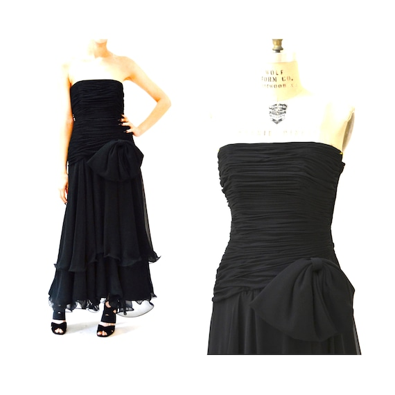 80s 90s Black Strapless Dress Evening Gown Size S… - image 10
