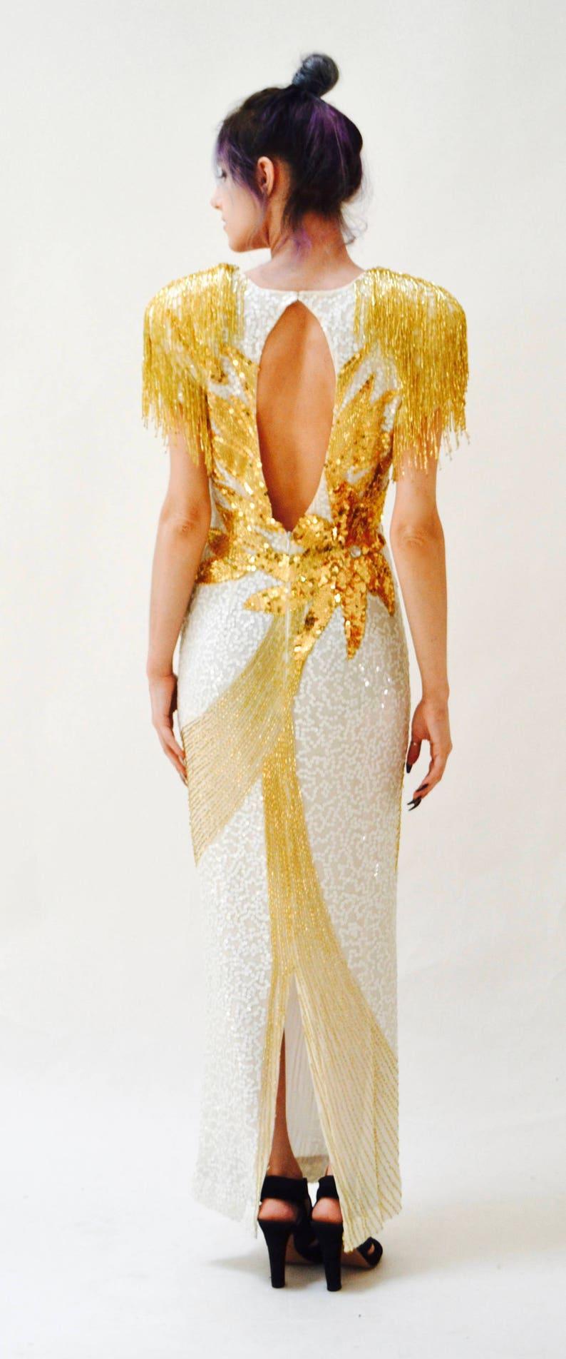 Vintage weiß und Gold Pailletten Kleid Kleid Fransen ...