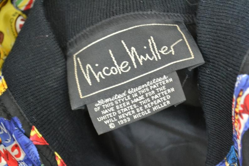 90s Vintage Nicole Miller Silk Candy Jacket Size Large XL Chocolate Junk Food Sweets Print Vintage Printed Bomber Jacket Candy Pop Art