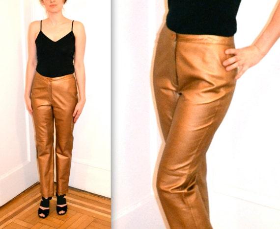 Amazing Metallic Leather Pants// Vintage Leather P