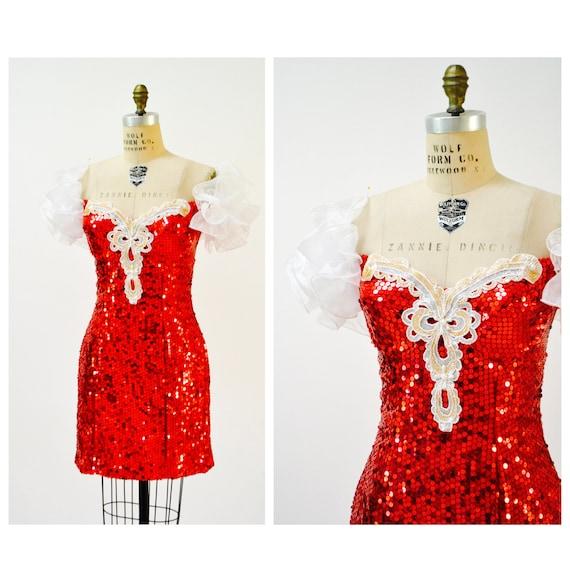80s Prom Dress Red Sequins Medium Large// Vintage