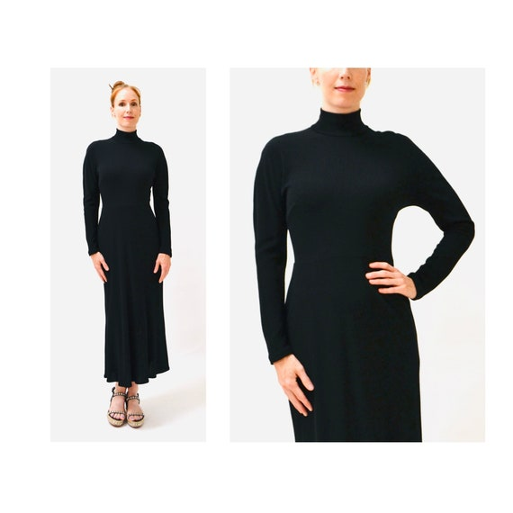 Vintage Black Dress by DKNY Black Wool Jersey Knit