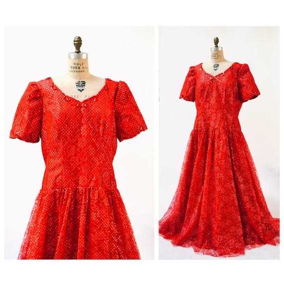 80s Prom Dress Size XL XXL Red Metallic Ball Gown