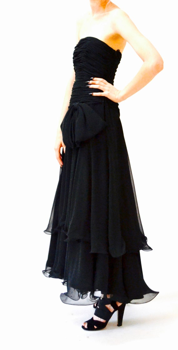 80s 90s Black Strapless Dress Evening Gown Size S… - image 7