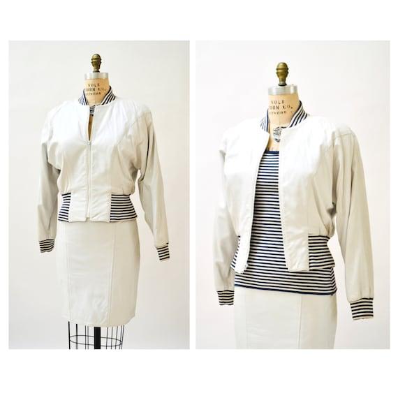 80s 90s Vintage White Leather Bomber Jacket Skirt