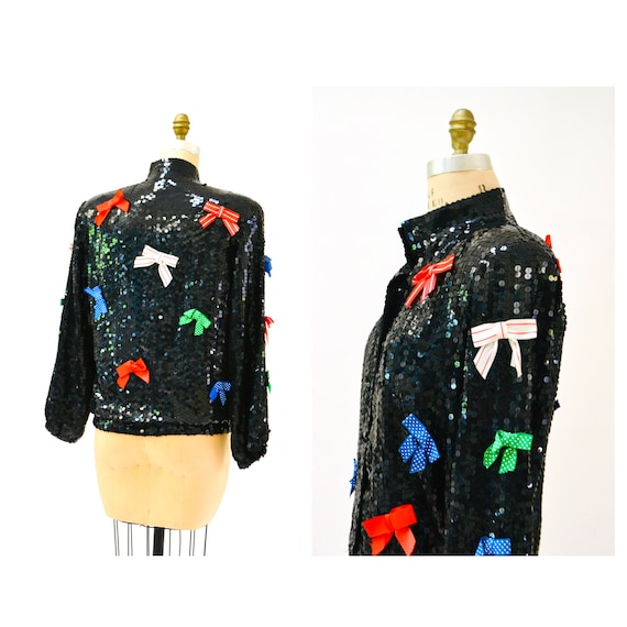 Vintage Black Sequin Jacket With Bows Ribbons 80s