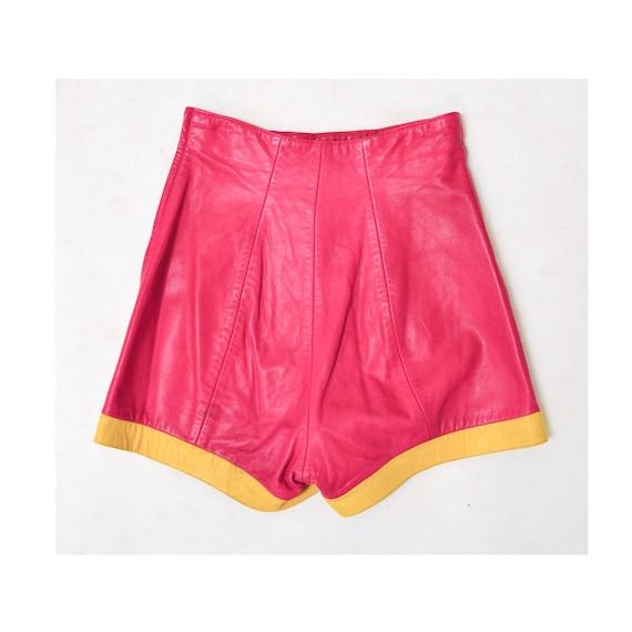 Vintage Pink Leather Shorts Hot Pants Leather Sho… - image 3