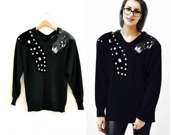 Vintage Black Sweater Jumper with Metallic studs rhinestones and faux leather SIze Medium Pull over 80s Glam Sweater