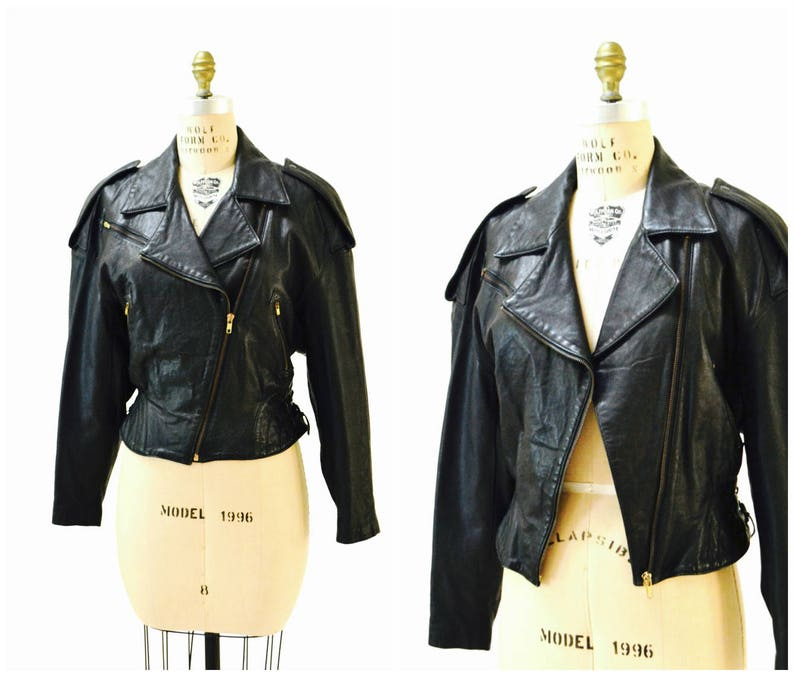 Vintage Leather Motorcycle Jacket Black By Michael Hoban Etsy