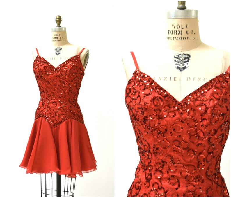 8c2217a728 Vintage 80s Prom Dress Red Sequin Dress Size XS Small // Red Sequin Dress  by Mike Benet Pageant Party Swing Dress
