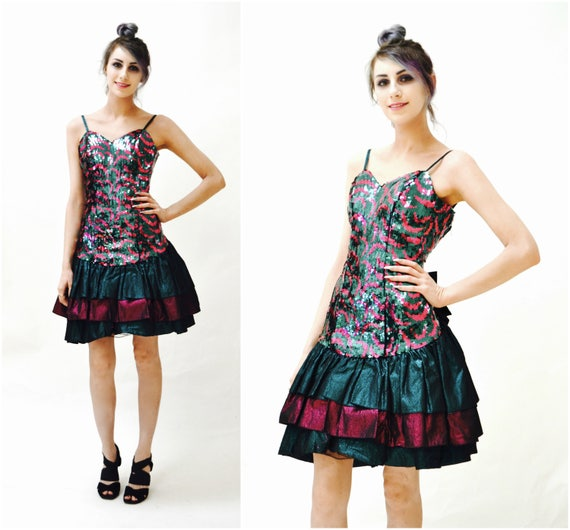 80s Prom Dress Sequin Party Dress Ruffles Size XXS