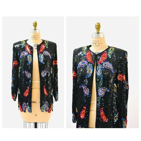 Vintage Black Sequin Jacket Paisley Beaded Jacket
