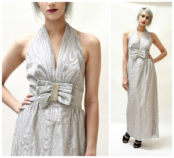 70s Vintage Silver Metallic Dress Evening Gown By