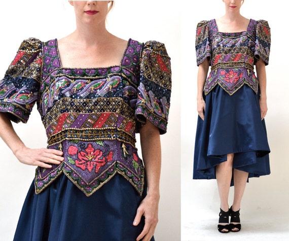 Vintage Party Dress Size XL Plus size Beaded Sequi