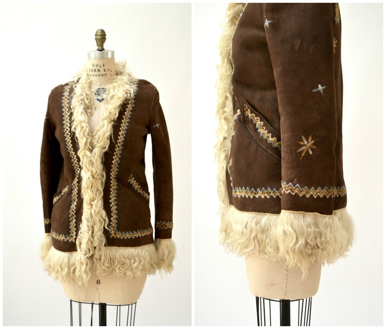 cddd3cf0b85c Vintage Embroidered Shearling Afghan Jacket Coat XS Small