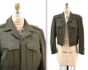 Vintage World War 2 WWII Jacket Wool United States Military Jacket Uniform Size Small Medium Marine Army Navy
