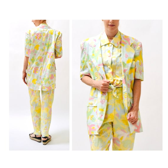 90s Vintage Printed Suit By ESCADA Yellow Blue Ja… - image 3