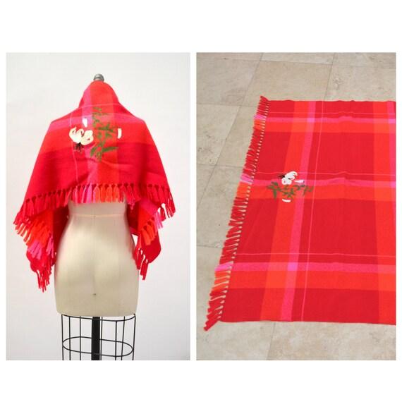 70s 80s Vintage Wool Wrap Blanket Throw Pink Orang