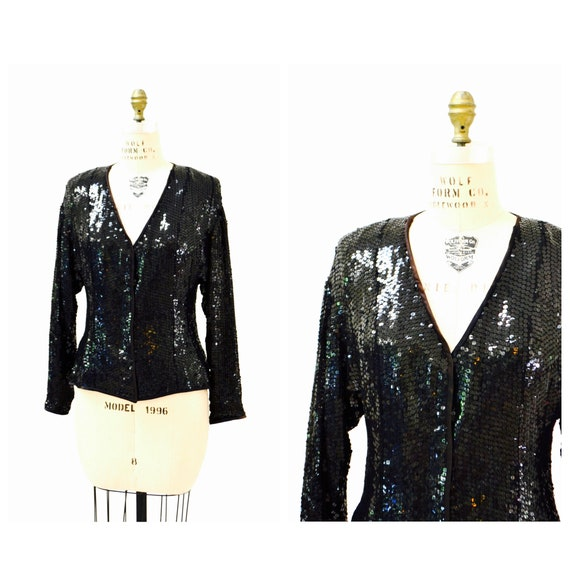 Vintage Black Sequin Jacket Medium// Black Silk Se