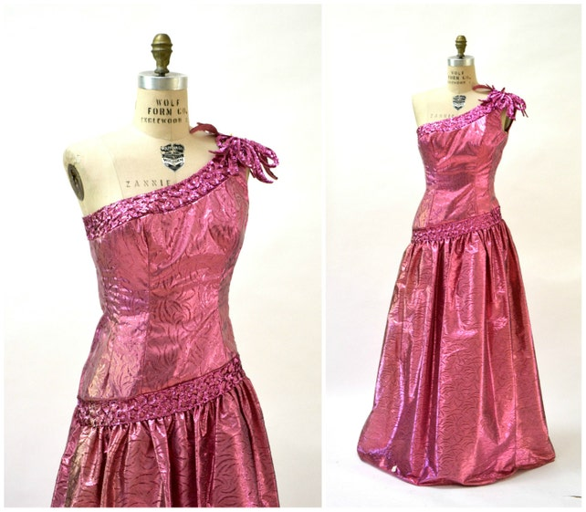 Metallic 80s Prom Dress Pink Size Small Ball Gown // Vintage | Etsy