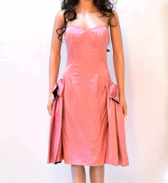 Vintage 80s Prom Dress Pink Size Small// 80s Pink