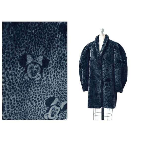 Vintage Faux Fur Jacket Coat Mickey Mouse Minnie M