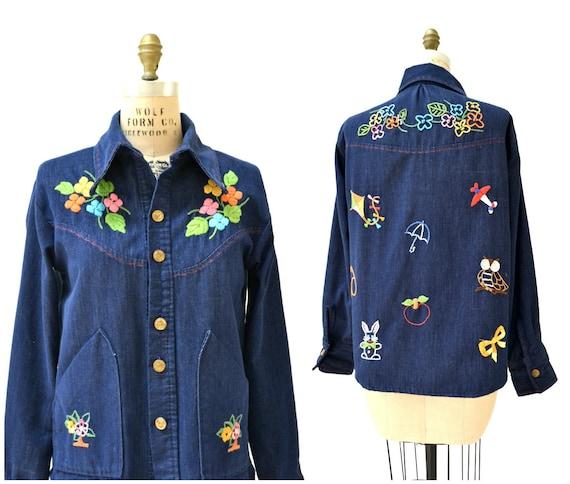70s Vintage Embroidered Denim Jacket Medium Large/