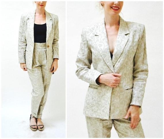 90s 00s Vintage Embroidered Linen Suit Jacket Pant
