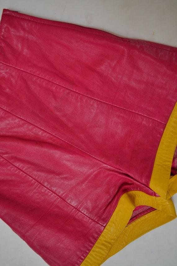 Vintage Pink Leather Shorts Hot Pants Leather Sho… - image 6