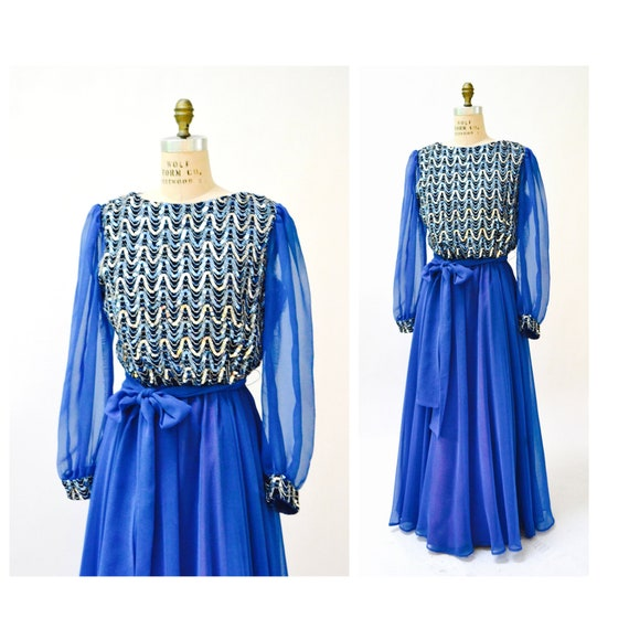 70s Vintage Sequin Dress Blue Metallic Dress Gown