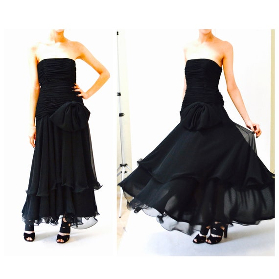 80s 90s Black Strapless Dress Evening Gown Size S… - image 1