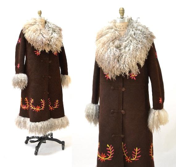 Vintage Embroidered Shearling Afghan Jacket Coat M