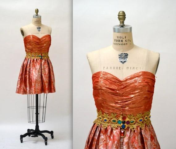 80s Vintage Metallic Prom Party Dress Size Medium