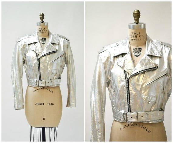 Vintage zwart lederen biker jas met strass & zilver studs | Etsy