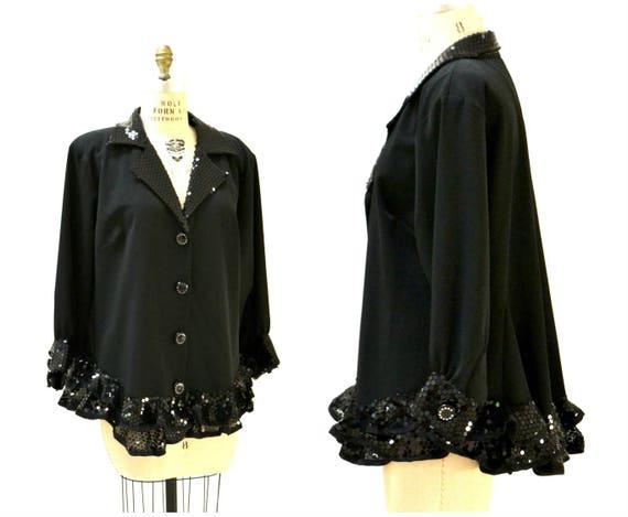 Vintage Black Sequin Jacket Size XL XXL// Black Se
