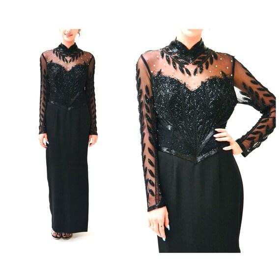 90s Vintage Black Beaded Evening Gown Size Medium/