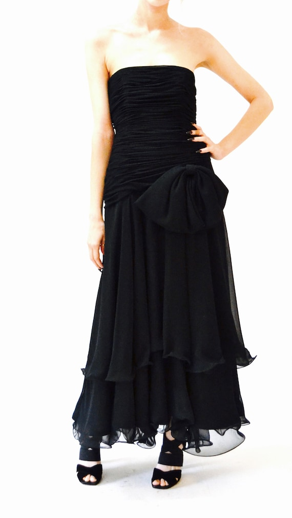 80s 90s Black Strapless Dress Evening Gown Size S… - image 3