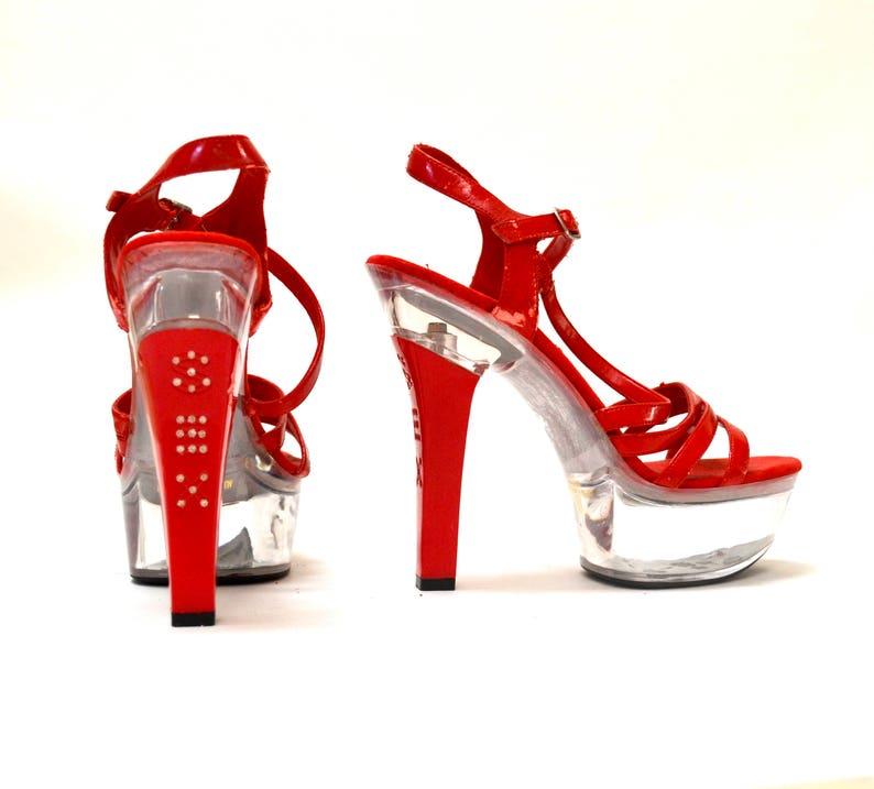 f7596da32ccf Vintage 90s Red Platform High Heel Size 9 Clear Resin SEX