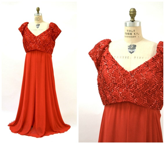 Vintage Red Sequin Dress Evening Gown Size 22 XL plus size// Vintage Red  Dress Plus Size Party Pageant 80s Prom Dress XL by Alyce Designs
