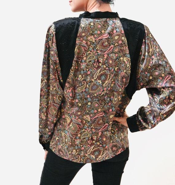 80s Vintage Paisley Print Silk Shirt Blouse Mediu… - image 7