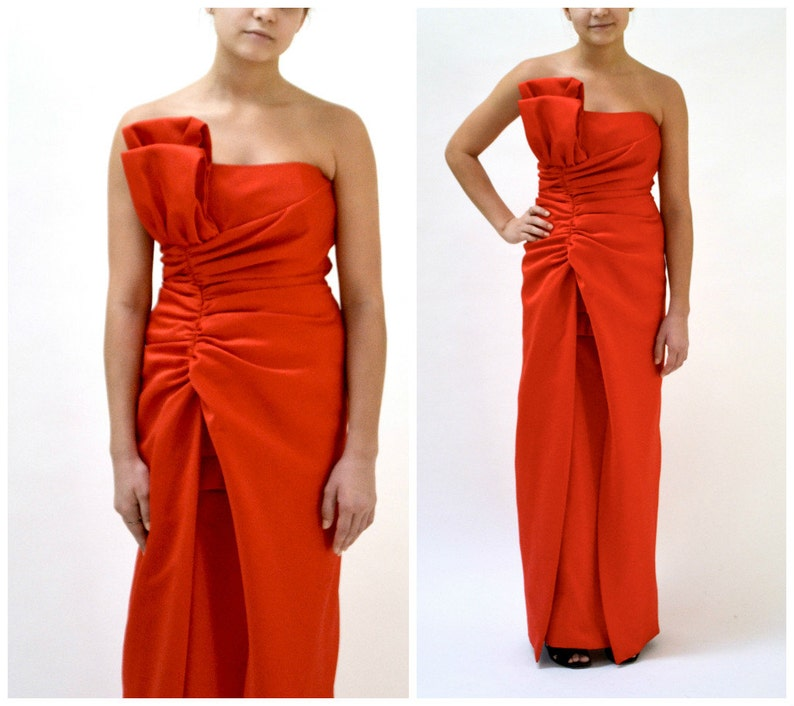 21d84f329864 80s Vintage Red Strapless Dress Gown Size Small By Victor | Etsy