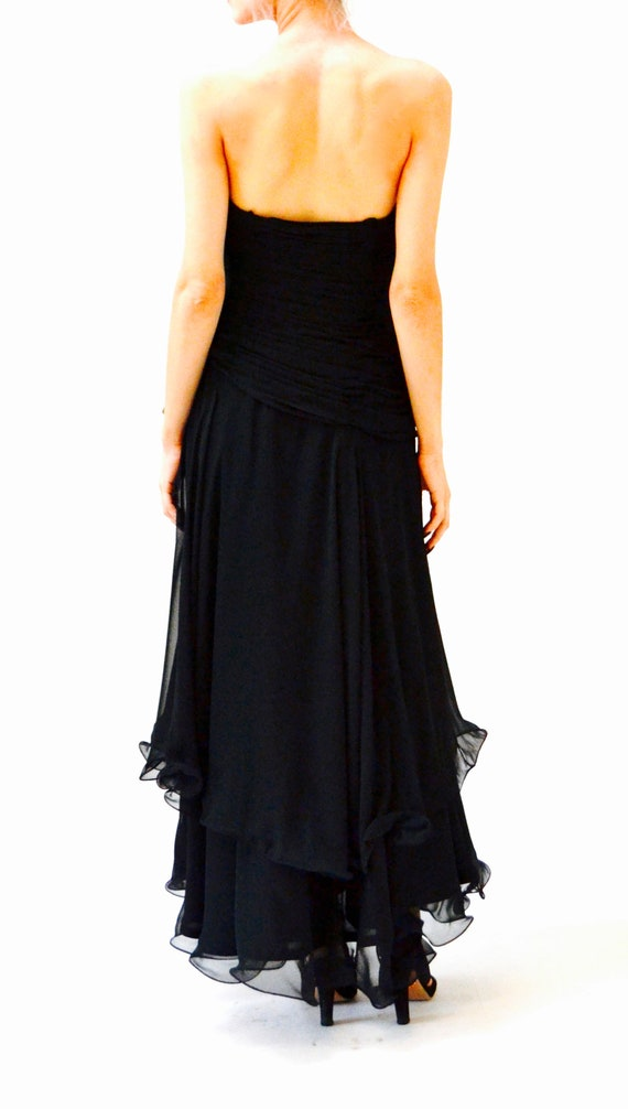 80s 90s Black Strapless Dress Evening Gown Size S… - image 8